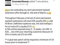 Semi permanent eyelash extensions and Hi Brow February and March offer