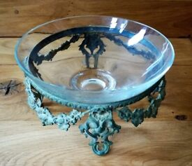 VINTAGE French Pattern Cast Metal Stand Green Gold Ornate Decorative Embossed Design & Glass Bowl