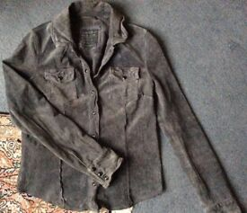 ALL SAINTS *YANI* Distressed Grey Suede Leather Shirt Jacket UK10