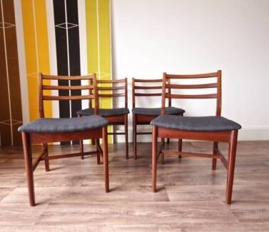 4 Newly Upholstered G-Plan Retro Teak Dining Chairs, Can Deliver