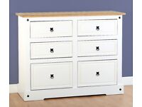 New White or Grey Corona 6 drawer chest white only