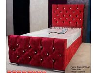 😍😍 gorgeous velvet crushed bed with mattress