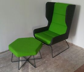 NAUGHTONE WINGBACK ARMCHAIR AND FOOTSTOOL