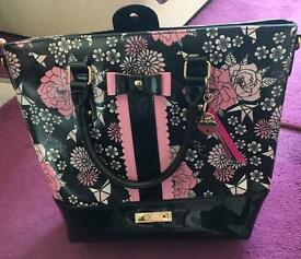 Floozie by Debenhams black and pink flower tote bag