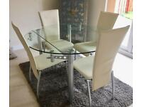Archibald's Glass Extendable 4ft Dining Table & Cream Leather Chairs