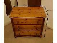 Solid Wood Chest of Drawers H 71cm - Good Condition and Sturdy Build