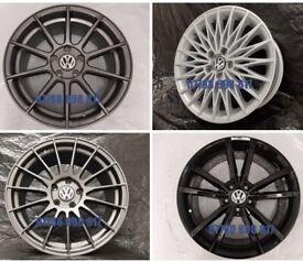 "NEW ALLOY WHEELS 18"" INCH ALLOYS GOLF EOS CADDY PASSAT SCIROCCO 5X112 BLACK GREY (VW VOLKSWAGEN 2)"