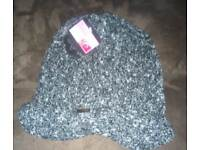 Brand New Ladies Chenille Black Speckled hat - one size fits all