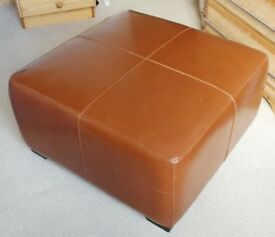 Brown leather style pouffe