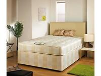 Single/Double/Kingsize Divan Bed with 9inch Sprung-Based Mattress-Small Double