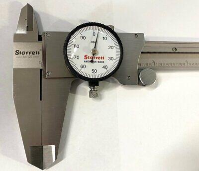 Starrett 120z-12 Dial Caliper Stainless Steel White Face Wood Box