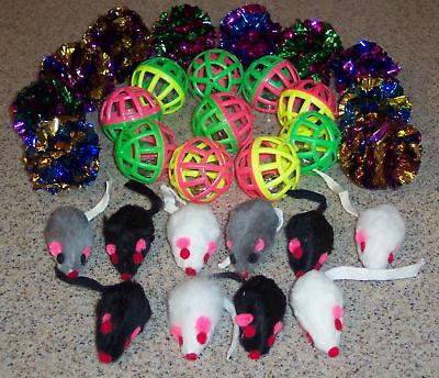 30 lot FUR Mice JINGLE MYLAR toys kitten toy furry ball free shipping (Jingle Crinkle Ball)