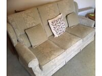 Three Seater Sofa & Armchair, excellent condition, pale green and beige