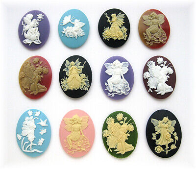 12 unset Mixed Fantasy FAIRY 40mm x 30mm CAMEOS for Crafts Costume Jewelry LOT C
