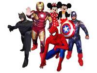 CLOWN MASCOT Childrens SPIDERMAN Entertainer MINNIE MICKEY MOUSE KIDS Balloon modeller hire Magician