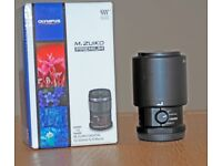 Olympus M.Zuiko 60mm Macro lens F2.8 with hood and filter Mint Condition