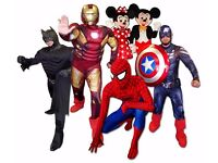 Childs Birthday MASCOTS Entertainer Captain America Iron Man Avengers Balloon Modeller FACE PAINTERS