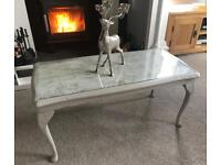 Hand painted glass top coffee table farrow and ball - upcycled