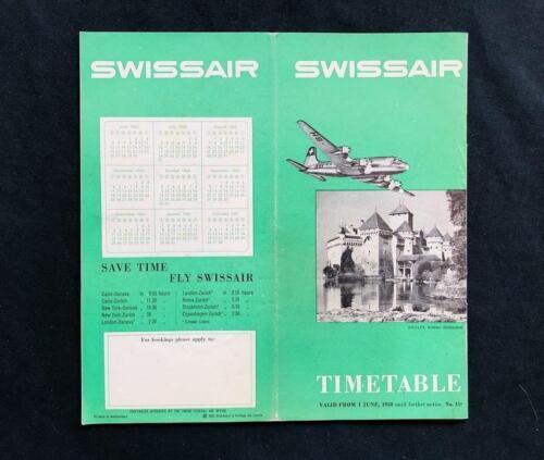 SWISS AIR Airline TIMETABLE BROCHURE BOOK, 1950 Douglas DC-4 Airplane Swissair