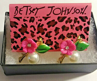 ~Betsey Johnson Pink Flower and Faux pearl earrings  $6.99