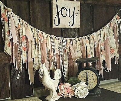 #242 Lace Rag fabric garland Shabby Wedding curtain Easter nursery spring gray for sale  Stover