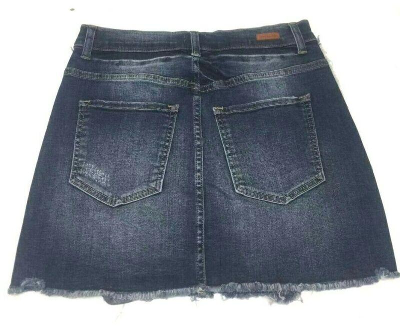 Sneak Peek Frayed Hem Denim Skirt