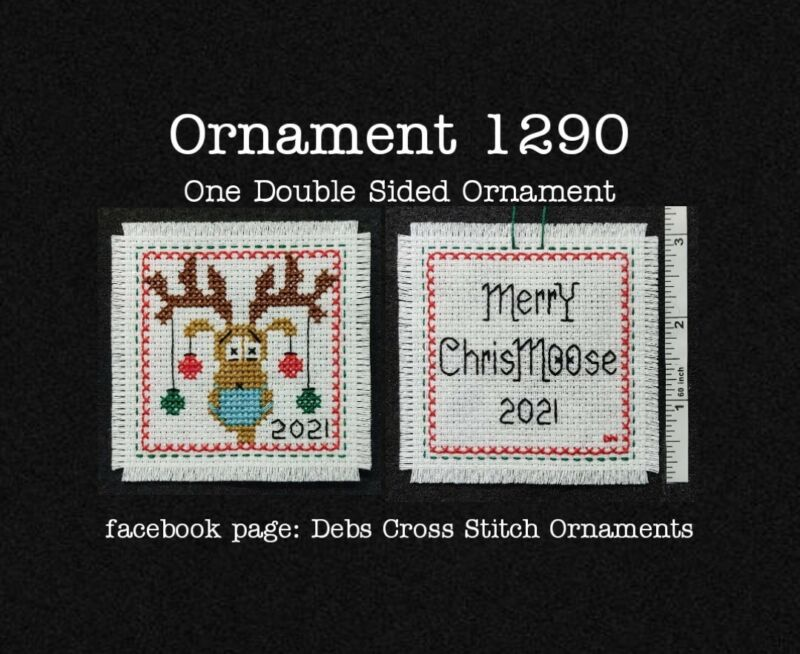 1290 Moose Mask 2021 Christmas Finished Cross Stitch Ornament Completed