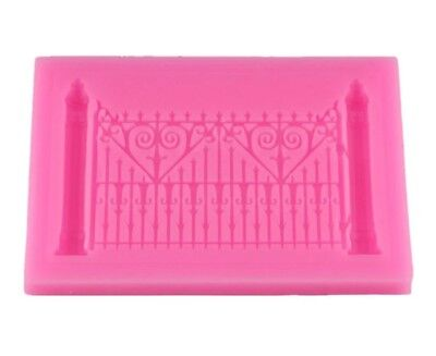 FENCE SILICONE MOULD/MOLD-ORNATE PALACE GATE/CASTLE-ICING CAKE TOPPER-DECORATIVE