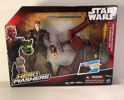 Star Wars Episodio II Jedi Speeder and Anakin Skywalker Hero Mashers Matel NIB