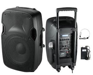 1200W Professional Portable Dual Mic Wireless Rechargeable 12
