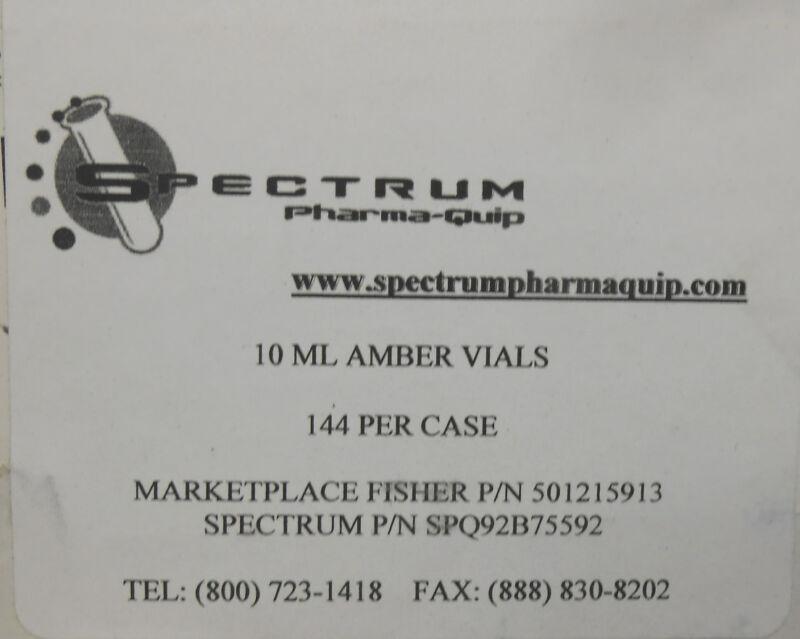 PARTIAL CASE OF SPECTRUM PHARMA-QUIP 10ML AMBER VIALS W/CAPS
