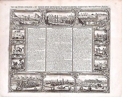 Antique map, Vue de Tunis d'Alger & de Gigeri