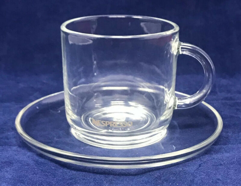 Nespresso Glass Espresso Mug Cup Saucer Set Clear Konstantin France