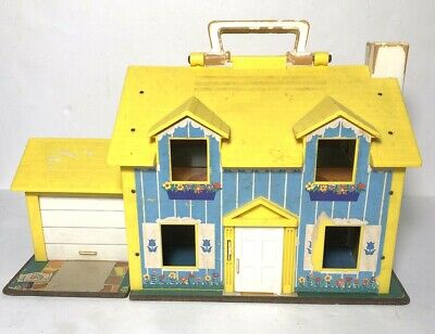 Vintage Fisher Price 952 Little People Play Family Yellow House 1969 60s