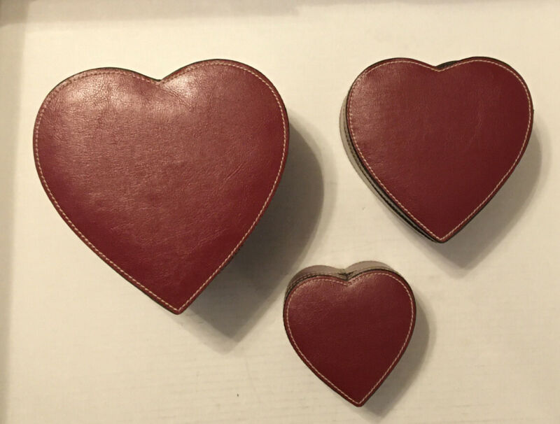 Red Leather Heart Shaped Jewelry Trinket Box With Red Velvet Liner X 3 Sizes