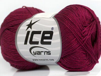 Lot of 6 Skeins ICE ALMINA COTTON (100% Mercerized Cotton) Yarn -