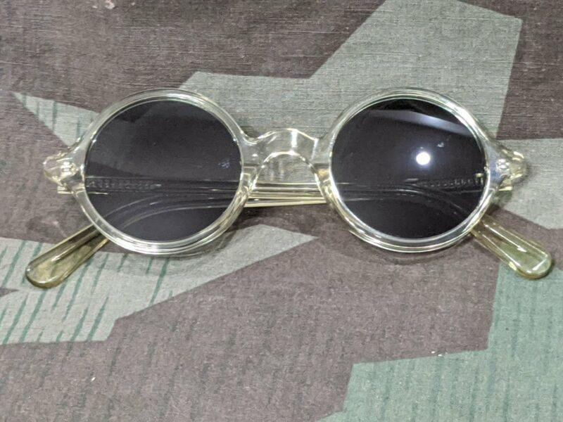 Repro WWII German Clear Acetate Round Sunglasses MG Blendschutzbrille 1940s Vtg