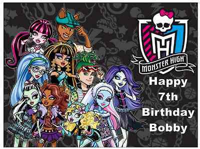Monster High Personalised A4 Cake Topper Edible Wafer Paper 7.5