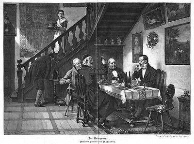 Die Weinprobe, Original-Holzstich nach Benjamin Vautier von 1889