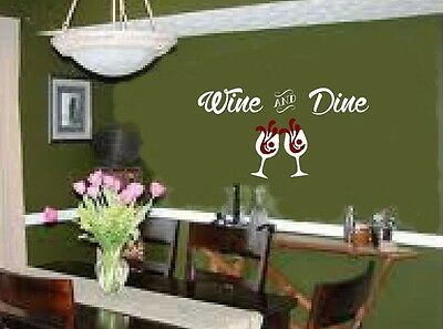Wine and Dine with glasses wall decal sticker art for dining area kitchen - Art Glass Contemporary Mirror