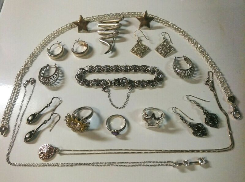 Lot of Vintage Sterling Silver Jewelry 3 Rings 3 Neck 1 Brac 1 Pin 6 Pairs Earr