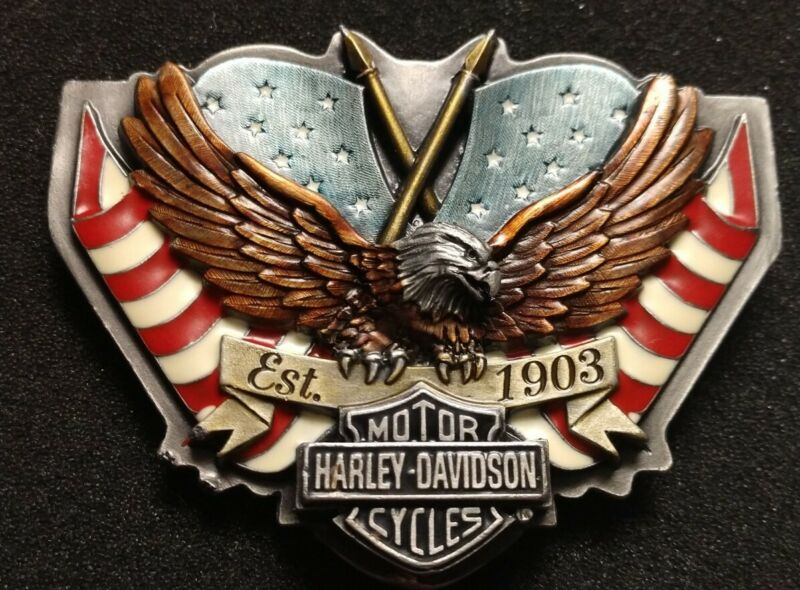Harley-Davidson Screaming Eagle B & S Twin American Flags Est. 1903 Belt Buckle