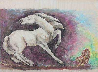Sich aufbäumendes Pferd - Aquarell, signiert