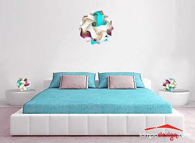 Set Luci camera da letto LAMPADARIO + 2 abajour da comodino colorate...