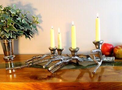 Tree Limb Branch Bark Twig Candelabra Candle Holder Sculpture Rustic Lodge