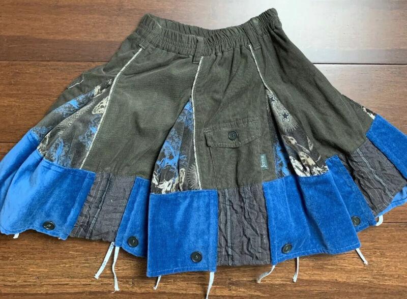 Jottum Girls pleated Layered Blue Black Velvet Corduroy Size 6/116 Flared Skirt