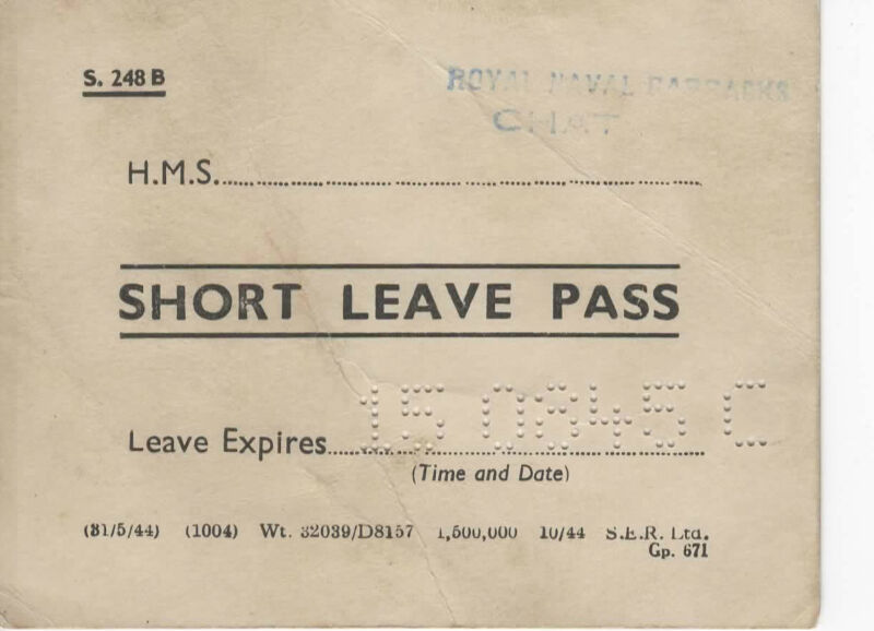 Vintage WWII-Short Leave Pass-Royal Naval Barracks-1945-CHAT