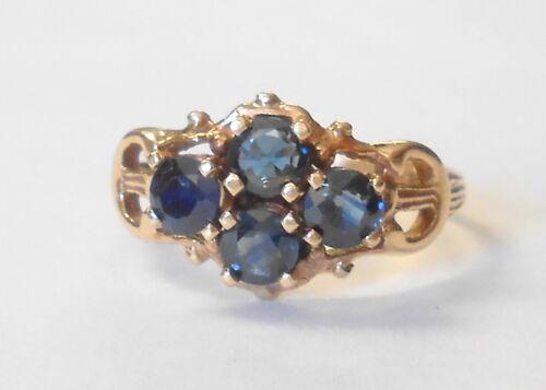 4 Blue Sapphire Vintage Unique Buckle Shape 14K Yellow Gold Ladies Ring Size 7