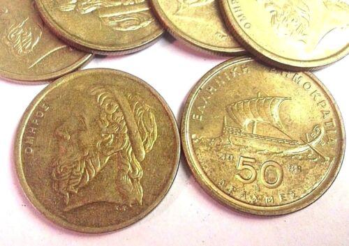 HOMER & Athenian ship Greece 50 Drachmae, Greek Drachma Coin (1988-2000 type)
