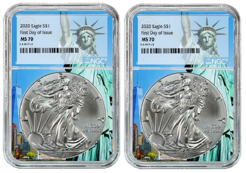 2020 1oz Silver Eagle NGC MS70 - First Day Statue Of Liberty - 2 Pack